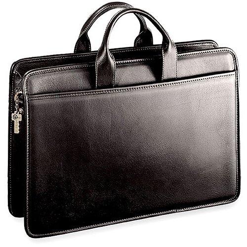 Platinum Single Gusset Leather Briefcase