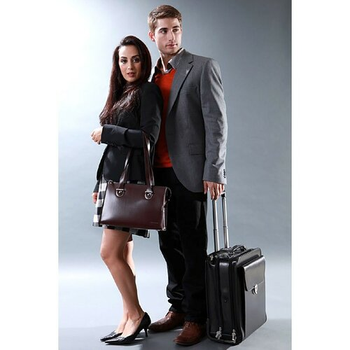 Jack Georges Milano Vertical Leather Laptop Briefcase