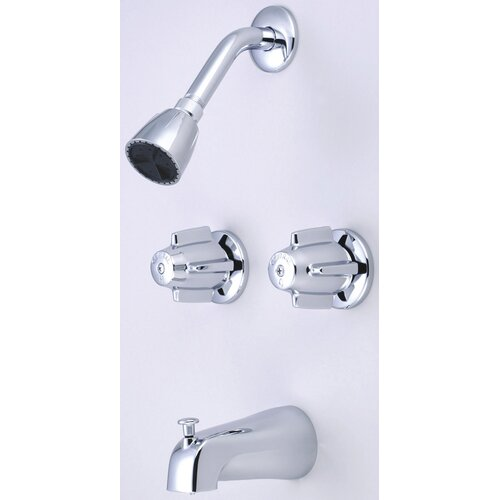 "Central Brass Volume Control Tub and Shower Faucet with 6"" Centers"
