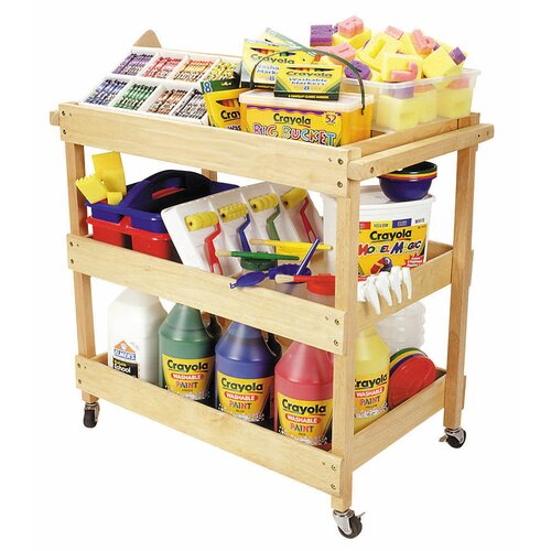 ECR4kids Hardwood Utility Cart with Four Casters