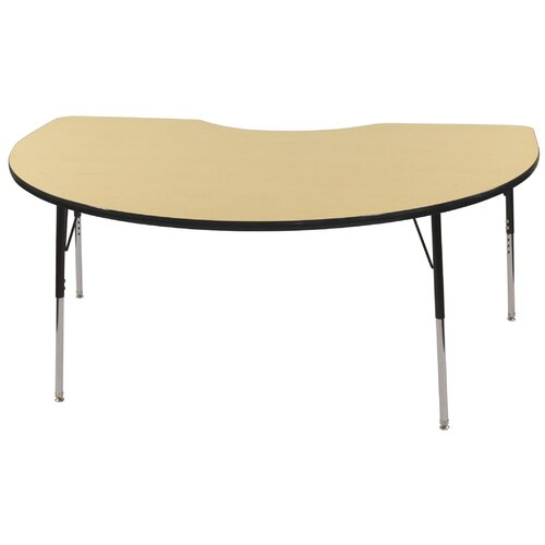 ECR4kids 48x72 Kidney Shaped Adjustable Activity Table in Maple