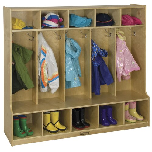 ECR4kids 5 Section Coat Locker With Bench