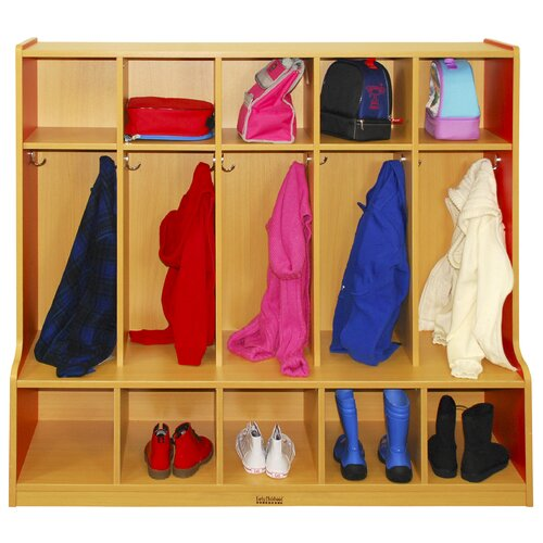 ECR4kids Colorful Essentials™ 5-Section Coat Locker with Bench