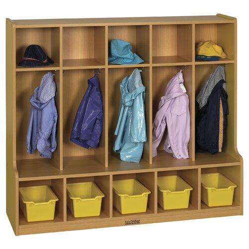 ECR4kids Colorful Essentials™ 5-Section Coat Locker