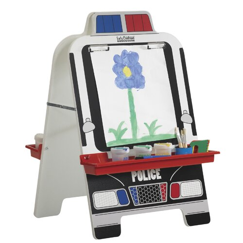 ECR4kids Police Car Easel with Paint Crate