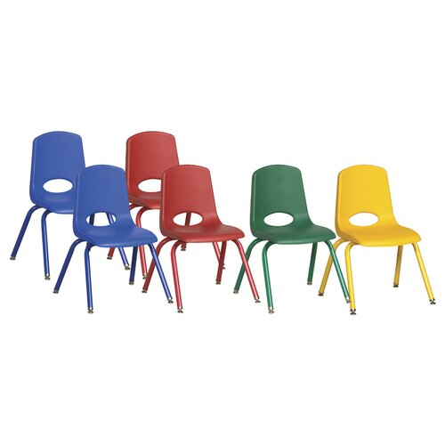 """ECR4kids 14"""" Plastic Stack Chair with Matching Painted Legs"""