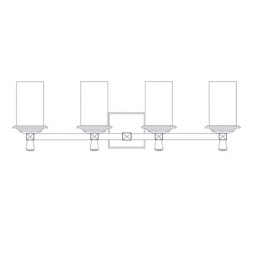 Justice Design Group Alabaster Rocks Deco 4 Light Bath Vanity Light