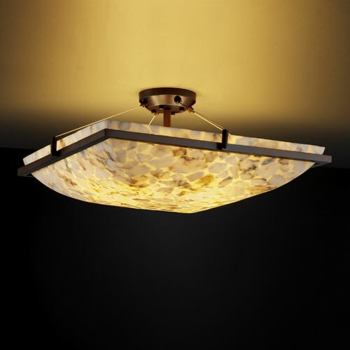 Justice Design Group Alabaster Rocks Ring 3 Light Semi Flush Mount