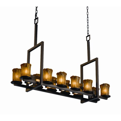 Dakota Veneto Luce 12-Up and 5-Down Light Tall Bridge Chandelier