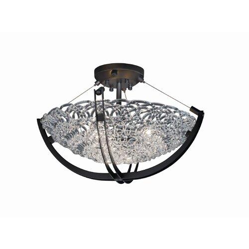 Justice Design Group Crossbar Veneto Luce 3 Light Semi Flush Mount