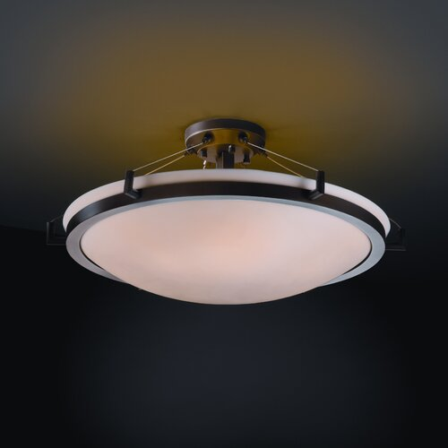 Justice Design Group Ring Porcelina Round Semi Flush Mount