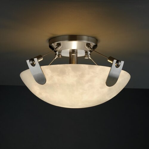 Justice Design Group U-Clips Clouds 2 Light Semi Flush Mount