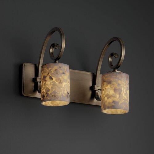 Justice Design Group Alabaster Rocks Victoria 2 Light Bath Vanity Light