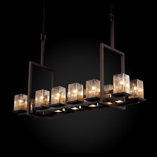 Justice Design Group Fusion Montana 12 Up and 5 Downlight Bridge Tall Chandelier