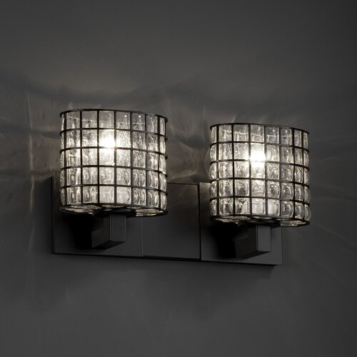 Justice Design Group Wire Glass Modular 2 Light Bath Vanity Light