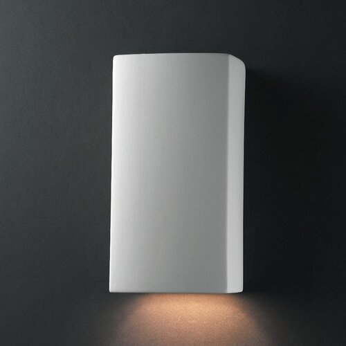 Justice Design Group Ambiance Closed Top Small Rectangular 1 Light Outdoor Wall Sconce