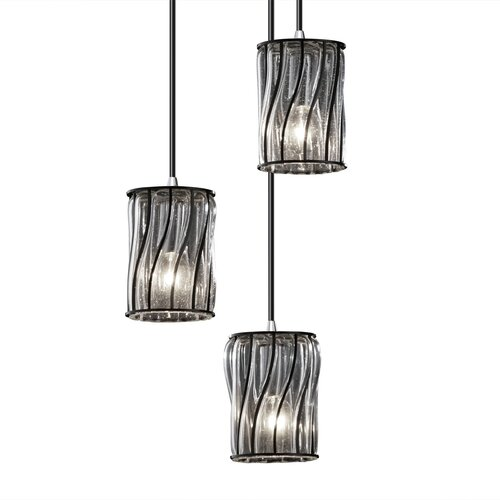 Justice Design Group Wire Glass Mini 3 Light Cluster Pendant