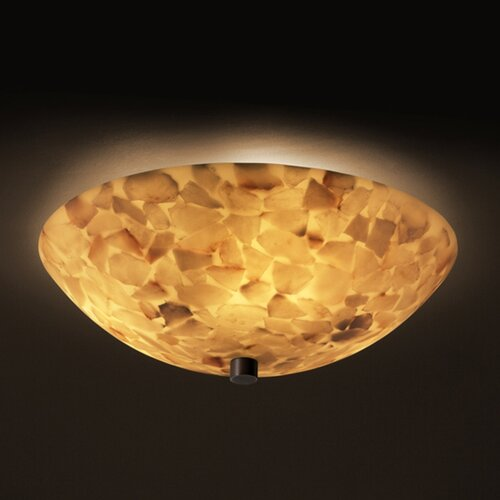 Justice Design Group Alabaster Rocks Bowls 3 Light Flush Mount