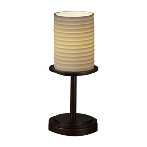 """Justice Design Group Limoges Dakota Portable 12"""" H Table Lamp with Drum Shade"""