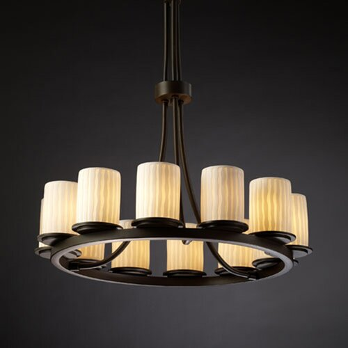Justice Design Group Limoges Dakota 12 Light Chandelier with Additional Chain
