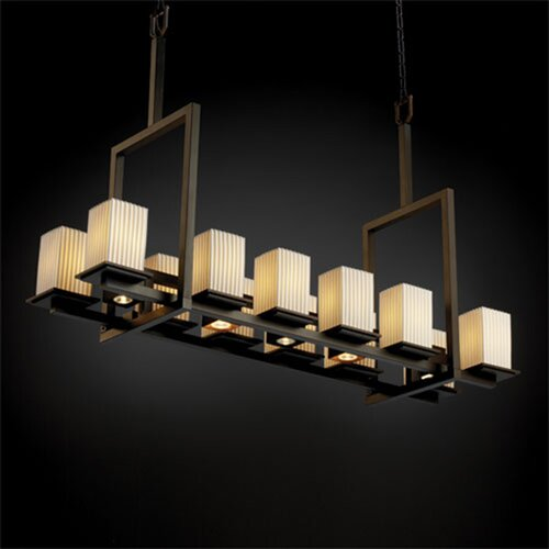Justice Design Group Montana Limoges 12-Up and 5-Down Light Tall Bridge Chandelier