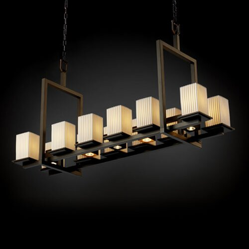 Justice Design Group Montana Limoges 12-Up and 5-Down Light Short Bridge Chandelier