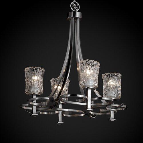 Justice Design Group Veneto Luce Arcadia 4 Uplight Chandelier