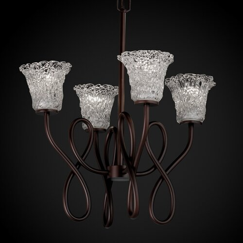 Veneto Luce Bend Capellini 4 Light Chandelier