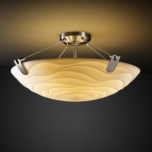Justice Design Group Porcelina U-Clips 3 Light Semi Flush Mount