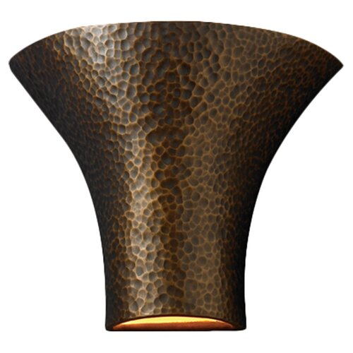 Justice Design Group Ambiance Open Top and Bottom Large Round Flared 1 Light Wall Sconce