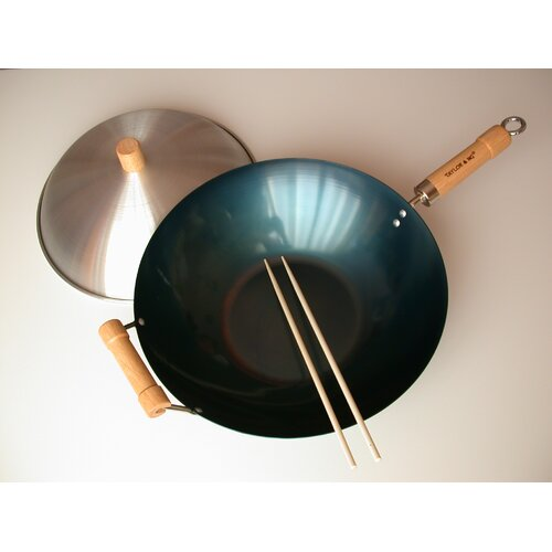 "Taylor & Ng 3 Piece 14"" Preseasoned Flat Bottom Wok Set"