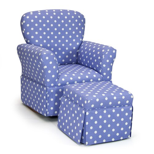 Polka Dot Kelso Maggie Skirted Kid's Rocking Chair and Ottoman Set