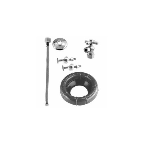Westbrass Ball Valve Toilet Kit and Wax Ring with Cross Handle