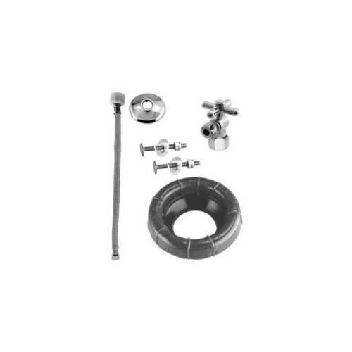 Westbrass Wax Ring and Ball Valve Toilet Kit with Cross Handle