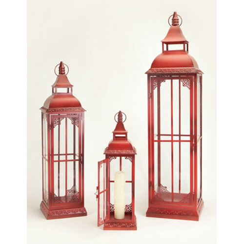 Buyers Choice 3 Piece Phat Tommy Metal and Glass Lantern Set