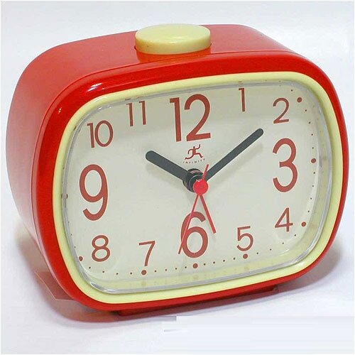 That '70s Retro Alarm Clock in Red with Cream Face