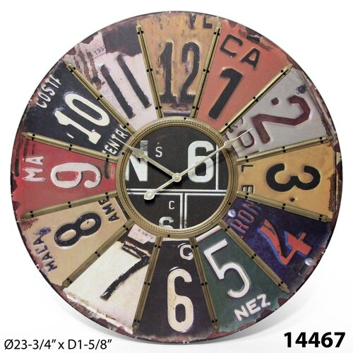 "Infinity Instruments Oversized 24"" Traveler License Plate Wall Clock"