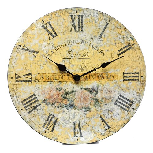 "Infinity Instruments 14"" Boutique Roses Wall Clock"