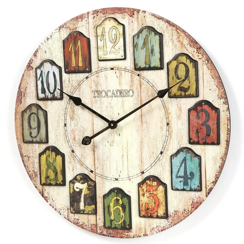 """Infinity Instruments Oversized 23.75"""" Weathered Plank Wall Clock"""