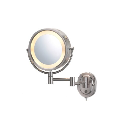 Jerdon Lighted 5X Magnifying Plug-In Wall Mirror