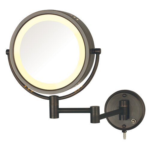 Jerdon Dual Sided Wall Mount Halo Lighted Mirror