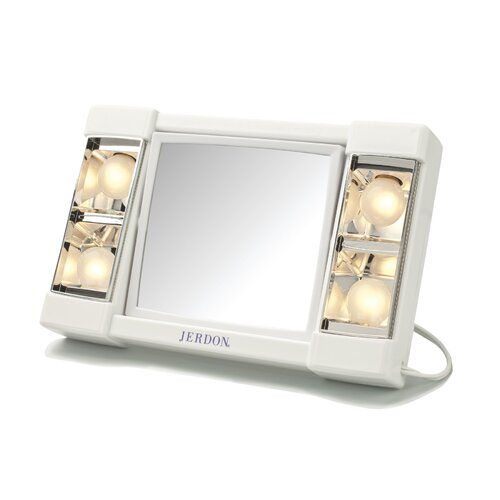 Jerdon Portable Dual Sided Tabletop Lighted Makeup Mirror