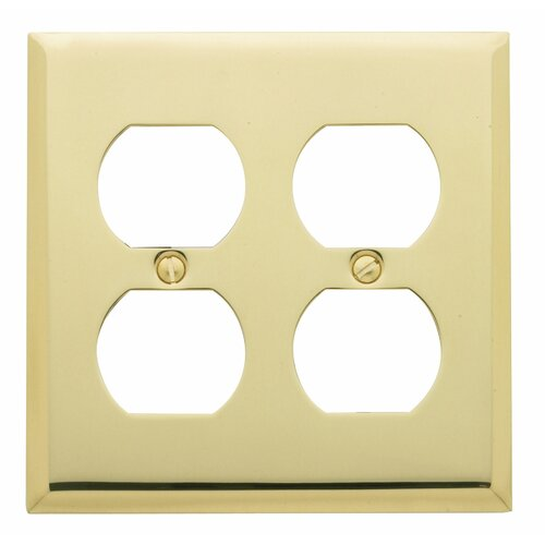 Classic Square Bevel Design Double Duplex Switch Plate in Polished Brass