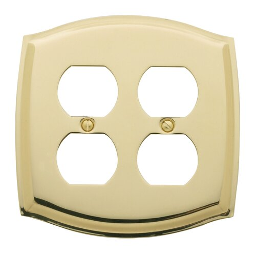 Colonial Design Double Duplex Switch Plate in Polished Brass