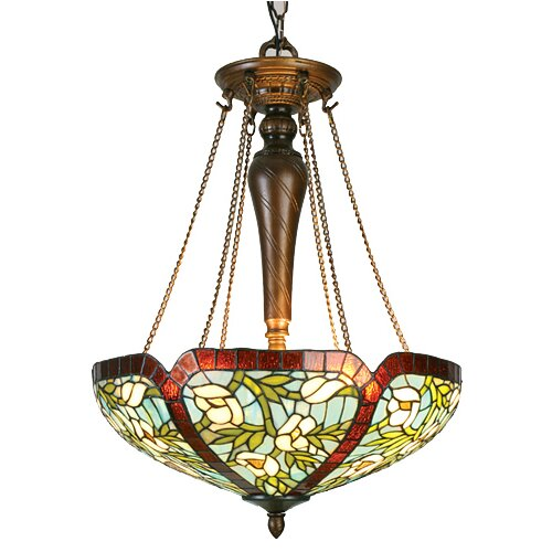 Floral Nouveau Anemone 3 Light Inverted Pendant