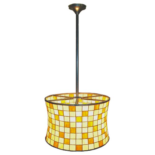 Meyda Tiffany Deco Hilton 2 Light Barrel Drum Pendant