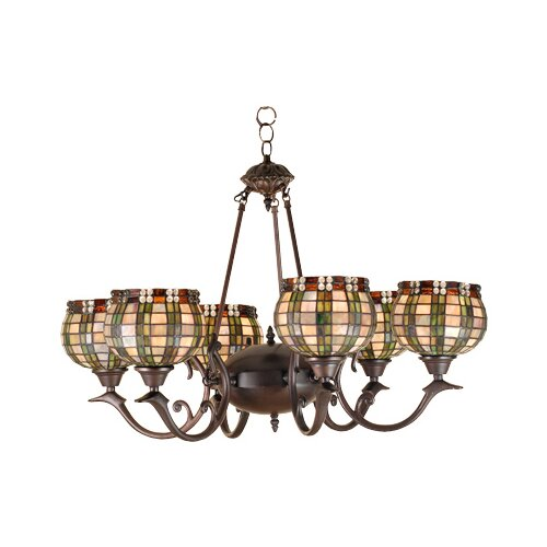 6 Light Jeweled Basket Chandelier