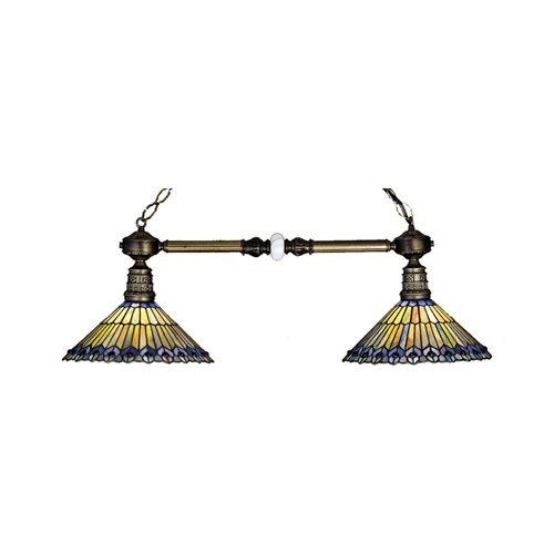 Tiffany Jeweled Peacock 2 Light Kitchen Island Pendant