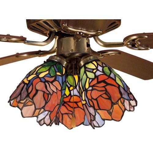 "Meyda Tiffany 5"" Iris Glass Bell Ceiling Fan Fitter Shade"