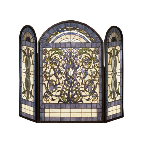 Meyda Tiffany Ribbons and Flowers 3 Panel Fireplace Screen